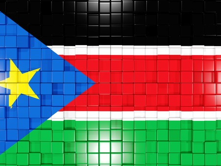 south sudan: Mosaic background with square parts. Flag of south sudan. 3D illustration