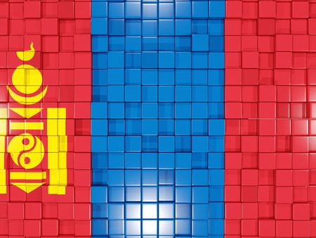 mongolia: Mosaic background with square parts. Flag of mongolia. 3D illustration Stock Photo