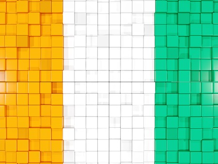 cote d ivoire: Mosaic background with square parts. Flag of cote d Ivoire. 3D illustration