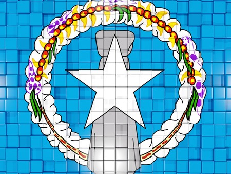 mariana: Mosaic background with square parts. Flag of northern mariana islands. 3D illustration Stock Photo