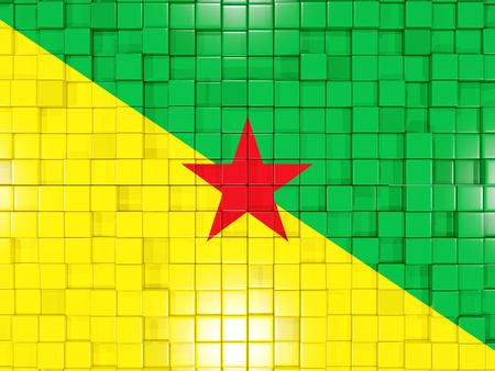 french guiana: Mosaic background with square parts. Flag of french guiana. 3D illustration