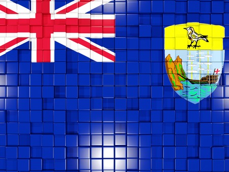 helena: Mosaic background with square parts. Flag of saint helena. 3D illustration