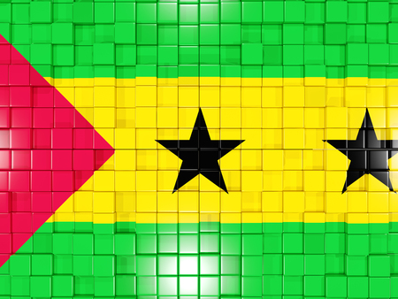 tome: Mosaic background with square parts. Flag of sao tome and principe. 3D illustration