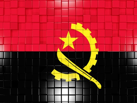angola: Mosaic background with square parts. Flag of angola. 3D illustration