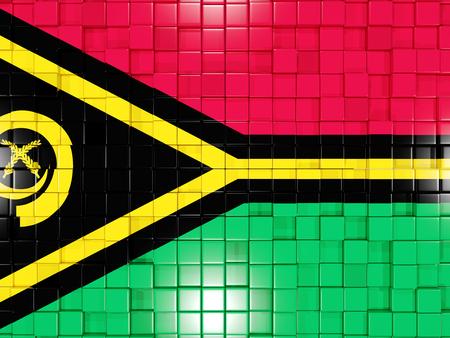 vanuatu: Mosaic background with square parts. Flag of vanuatu. 3D illustration
