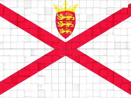 jersey: Mosaic background with square parts. Flag of jersey. 3D illustration Stock Photo