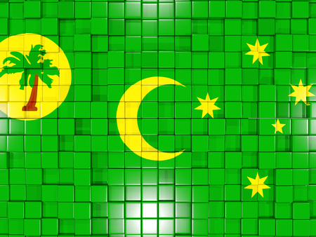Mosaic background with square parts. Flag of cocos islands. 3D illustration