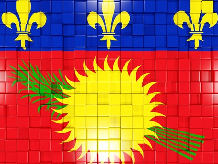 guadeloupe: Mosaic background with square parts. Flag of guadeloupe. 3D illustration Stock Photo