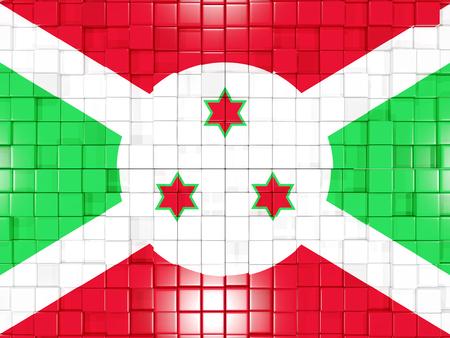 burundi: Mosaic background with square parts. Flag of burundi. 3D illustration