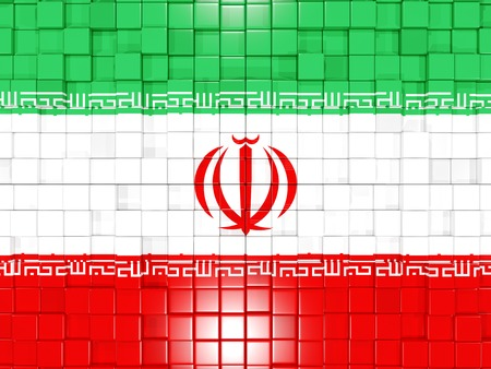 iran mosaic: Mosaic background with square parts. Flag of iran. 3D illustration Stock Photo