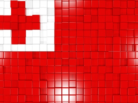 tonga: Mosaic background with square parts. Flag of tonga. 3D illustration Stock Photo