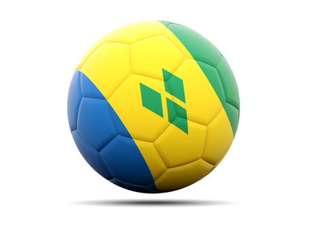 grenadines: Football with flag of saint vincent and the grenadines. 3D illustration