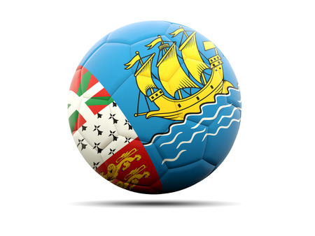 pierre: Football with flag of saint pierre and miquelon. 3D illustration