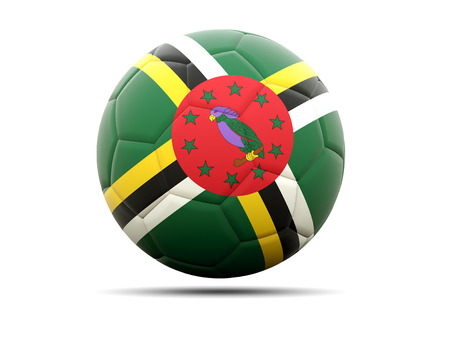 dominica: Football with flag of dominica. 3D illustration