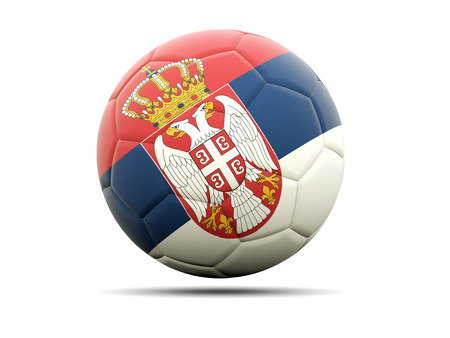 serbia: Football with flag of serbia. 3D illustration Stock Photo