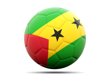 principe: F�tbol con la bandera de Sao Tome y Principe. ilustraci�n 3D Foto de archivo