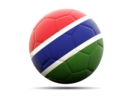 football team: Football with flag of gambia. 3D illustration Stock Photo