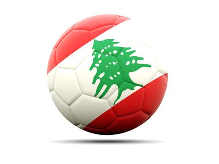 lebanon: Football with flag of lebanon. 3D illustration