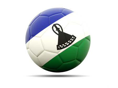 lesotho: Football with flag of lesotho. 3D illustration