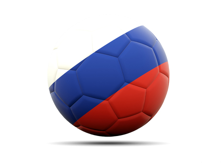 football team: Football with flag of russia. 3D illustration