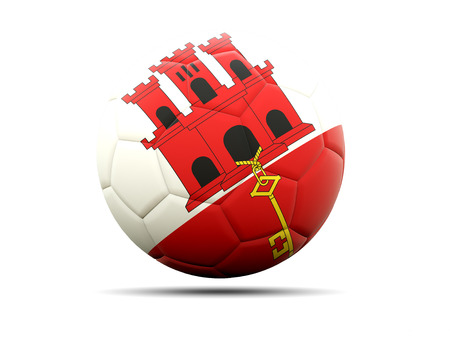 worldcup: Football with flag of gibraltar. 3D illustration