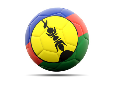 new caledonia: Football with flag of new caledonia. 3D illustration