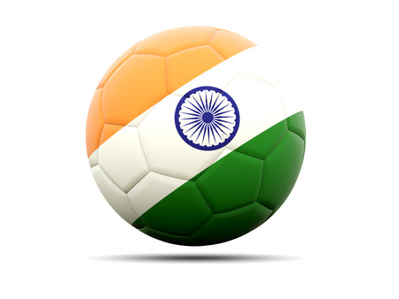 india 3d: Football with flag of india. 3D illustration