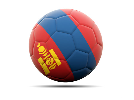 mongolia: Football with flag of mongolia. 3D illustration