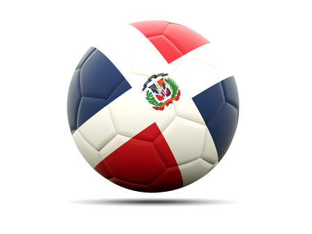 football team: Football with flag of dominican republic. 3D illustration Stock Photo