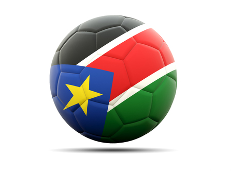 south sudan: Football with flag of south sudan. 3D illustration Stock Photo