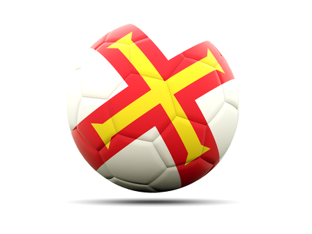 guernsey: Football with flag of guernsey. 3D illustration Stock Photo