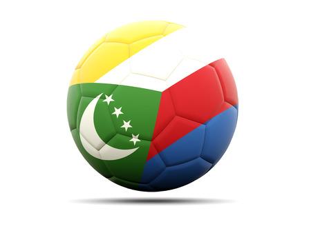 comoros: Football with flag of comoros. 3D illustration
