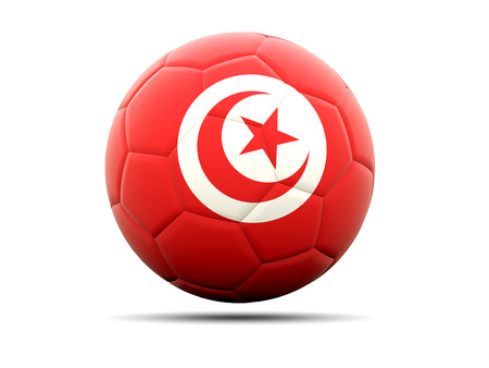 tunisia: Football with flag of tunisia. 3D illustration Stock Photo