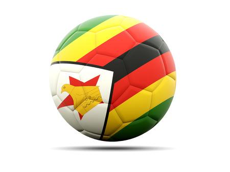 zimbabwe: F�tbol con la bandera de Zimbabwe. ilustraci�n 3D