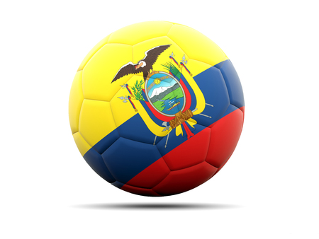 worldcup: Football with flag of ecuador. 3D illustration Stock Photo