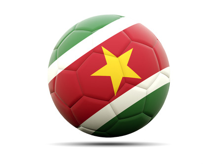 worldcup: Football with flag of suriname. 3D illustration