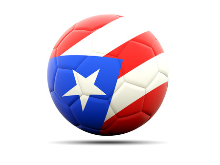 rico: Football with flag of puerto rico. 3D illustration