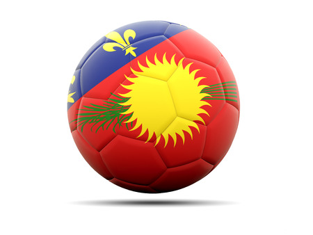 guadeloupe: Football with flag of guadeloupe. 3D illustration