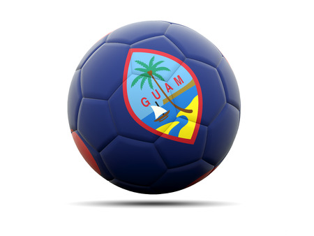 guam: Football with flag of guam. 3D illustration