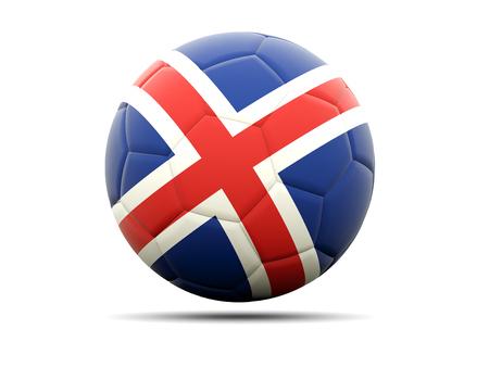 soccer balls: Football with flag of iceland. 3D illustration