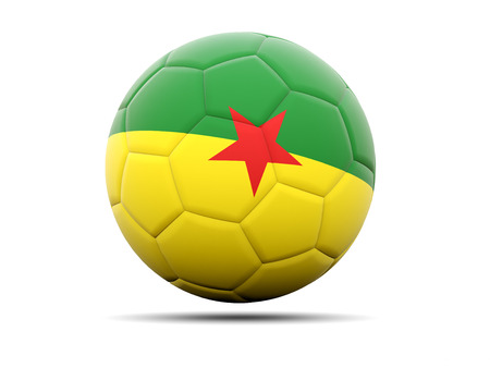 french guiana: Football with flag of french guiana. 3D illustration Stock Photo