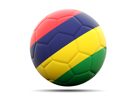 mauritius: Football with flag of mauritius. 3D illustration Stock Photo