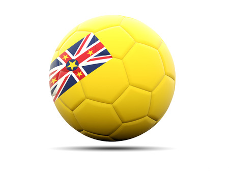 niue: Football with flag of niue. 3D illustration