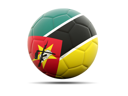 mozambique: Football with flag of mozambique. 3D illustration