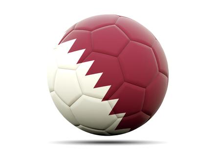 qatar: Football with flag of qatar. 3D illustration Stock Photo
