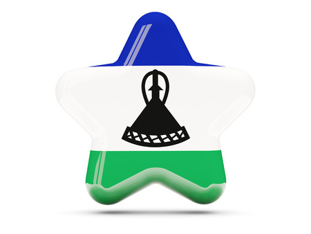 lesotho: Star icon with flag of lesotho. 3D illustration