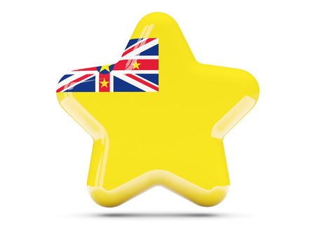 niue: Star icon with flag of niue. 3D illustration