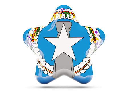 mariana: Star icon with flag of northern mariana islands. 3D illustration