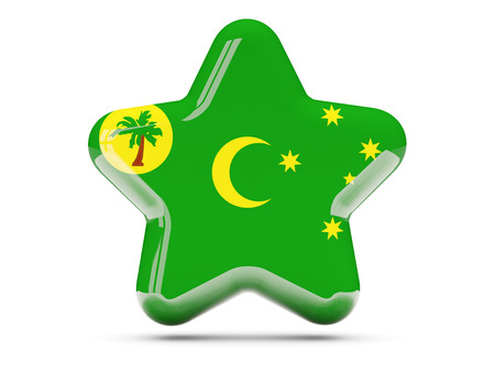 cocos: Star icon with flag of cocos islands. 3D illustration Stock Photo