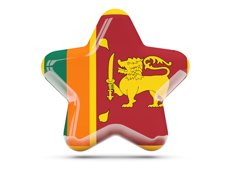 sri lanka: Star icon with flag of sri lanka. 3D illustration